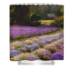 Lavender Farm Landscape Painting - Barn And Field At Sunset Impressionism  Shower Curtain