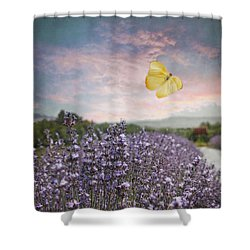 Lavender Field Pink And Blue Sunset And Yellow Butterfly Shower Curtain