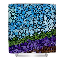 Lavender Fields - France French Landscape Art Shower Curtain by Sharon Cummings