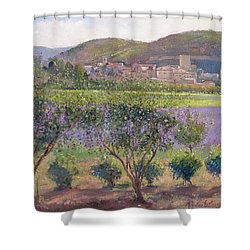 Lavender Seen Through Quince Trees Shower Curtain by Timothy  Easton