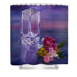 Shower Curtain featuring the painting Lavender Vase by LaVonne Hand