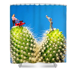 Lawn Mowing On Cactus II Shower Curtain by Paul Ge