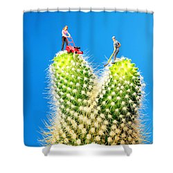 Lawn Mowing On Cactus Shower Curtain by Paul Ge