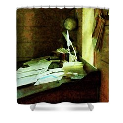 Shower Curtain featuring the photograph Lawyer - Desk With Quills And Papers by Susan Savad