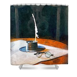 Lawyer - Quill And Spectacles Shower Curtain by Susan Savad