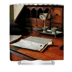 Shower Curtain featuring the photograph Lawyer - Quill Papers And Pipe by Susan Savad
