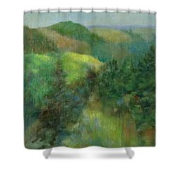 Layers Of Mountain Ranges Colorful Original Landscape Oil Painting Shower Curtain by Elizabeth Sawyer