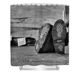 Lazy Beggar In Black And White Shower Curtain