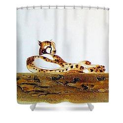 Lazy Dayz Cheetah - Original Artwork Shower Curtain