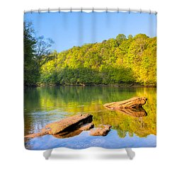 Lazy Morning On The Chattahoochee River Shower Curtain by Mark E Tisdale