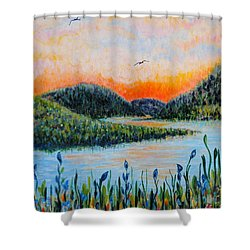 Shower Curtain featuring the painting Lazy River by Holly Carmichael