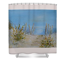Shower Curtain featuring the painting Lbi Peace by Judith Rhue