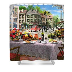 Le Cafe Paris Shower Curtain by Dominic Davison