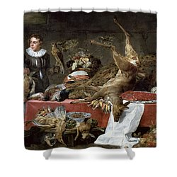 Le Cellier Oil On Canvas Shower Curtain by Frans Snyders or Snijders