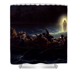 Le Christ Marchant Sur La Mer Shower Curtain