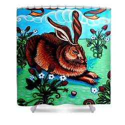 Le Grand Lapin Anarchie Shower Curtain by Genevieve Esson