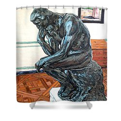 Shower Curtain featuring the painting Le Penseur The Thinker by Tom Roderick