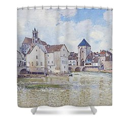 Le Pont De Moret Shower Curtain by Alfred Sisley