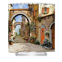 Le Porte Rosse Sulla Strada Shower Curtain by Guido Borelli