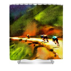 Le Tour De France 02 Shower Curtain by Miki De Goodaboom