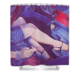 Lead Foot Shower Curtain by Mary Ann  Leitch