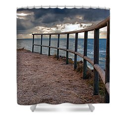 Rail By The Seaside Shower Curtain