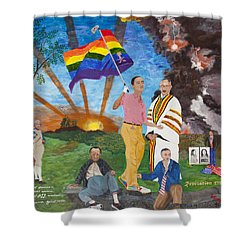 Leading Obama Left Shower Curtain by Mark Robbins