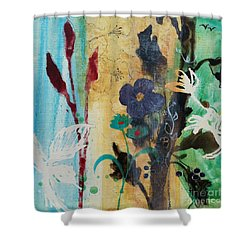 Shower Curtain featuring the painting Leaf Flower Berry by Robin Maria Pedrero