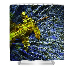 Leaf In Creek - Blue Abstract Shower Curtain