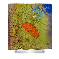 Leaf In The Moss Shower Curtain by Deborah Benoit