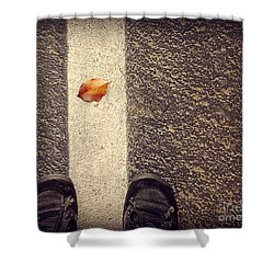 Shower Curtain featuring the photograph Leaf On The Line by Meghan at FireBonnet Art