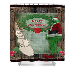 Shower Curtain featuring the photograph Leaning Into Christmas by Donna Brown