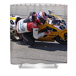 Shower Curtain featuring the pyrography Leaning Into Speed by Shoal Hollingsworth