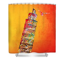 Leaning Tower Shower Curtain by Mark Ashkenazi