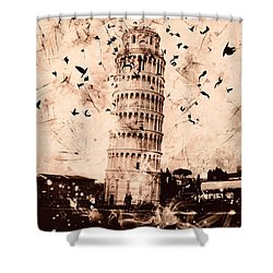 Leaning Tower Of Pisa Sepia Shower Curtain