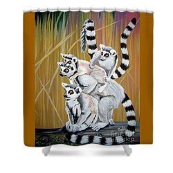Shower Curtain featuring the painting Leapin Lemurs by Phyllis Kaltenbach