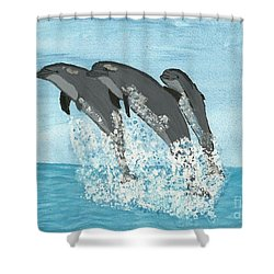 Shower Curtain featuring the painting Leaping Dolphins by Tracey Williams
