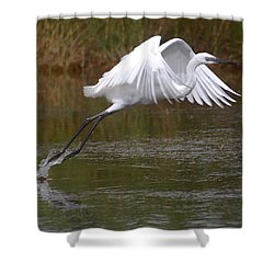 Leaping Egret Shower Curtain