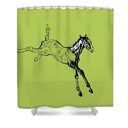 Leaping Foal Greens Shower Curtain