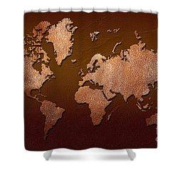 Leather World Map Shower Curtain by Zaira Dzhaubaeva
