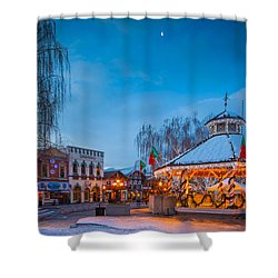 Leavenworth Christmas Moon Shower Curtain by Inge Johnsson