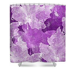 Leaves In Radiant Orchid Panorama Shower Curtain by Andee Design