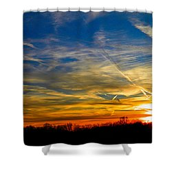 Leavin On A Jetplane Sunset Shower Curtain by Nick Kirby