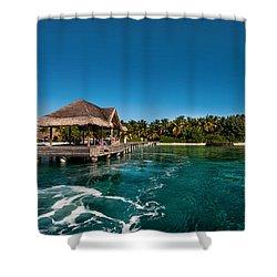 Leaving Kuramathi Resort. Maldives Shower Curtain by Jenny Rainbow