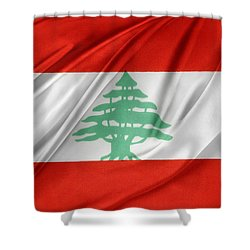 Lebanese Flag Shower Curtain by Les Cunliffe