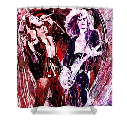 Led Zeppelin - Jimmy Page And Robert Plant Shower Curtain by Ryan Rock Artist
