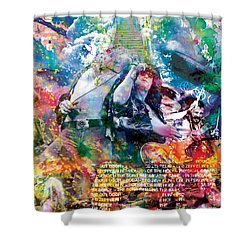 Led Zeppelin Original Painting Print  Shower Curtain by Ryan Rock Artist