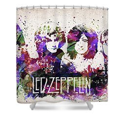 Led Zeppelin Portrait Shower Curtain by Aged Pixel