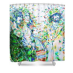 Led Zeppelin - Watercolor Portrait.2 Shower Curtain by Fabrizio Cassetta