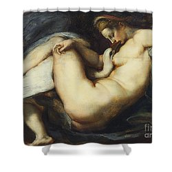 Leda And The Swan Shower Curtain by Rubens
